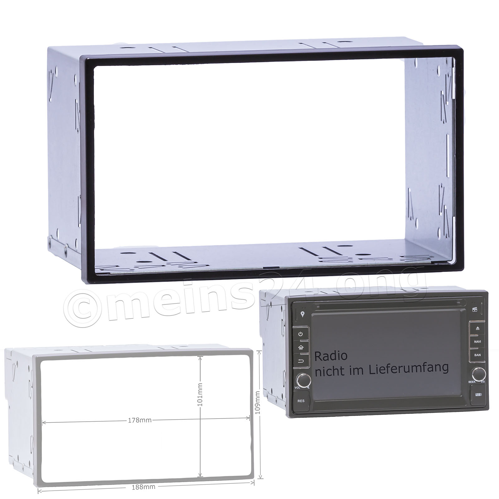 Doppel 2 DIN Einbauschacht universal ready for XL-Display