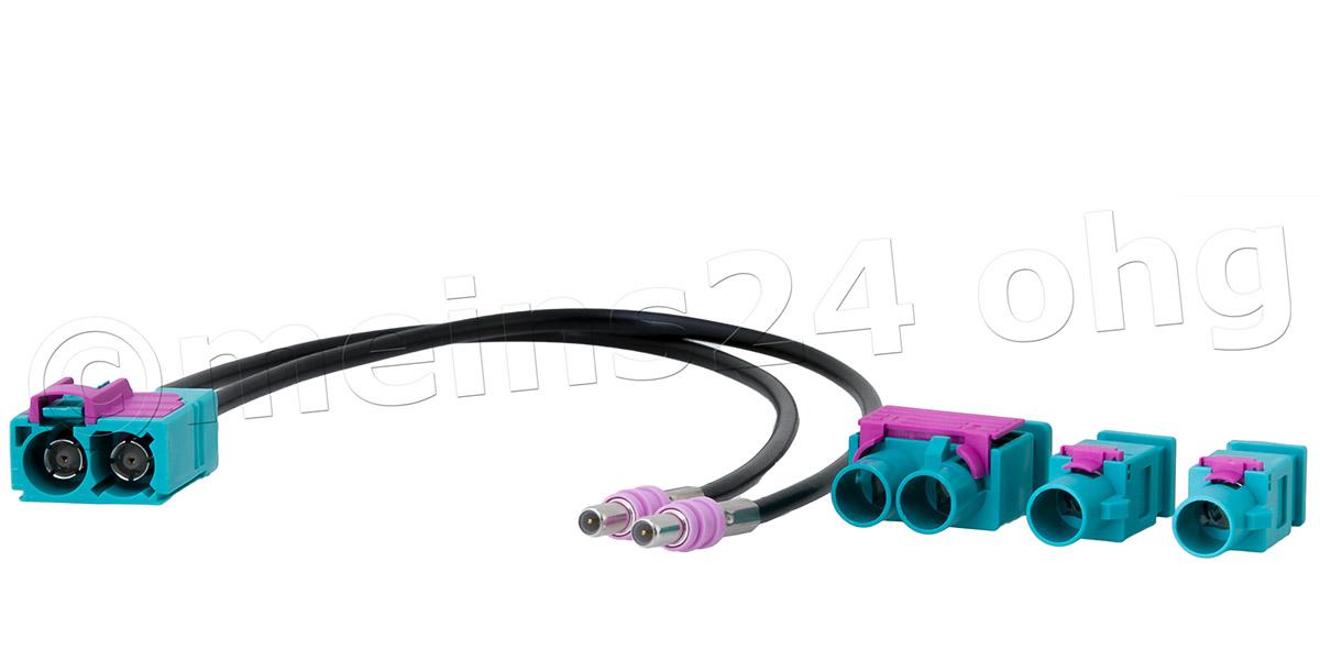 Antennenadapter Doppel Fakra Z Buchse (f) -> 2 / 1 Fakra Z Stecker (m)