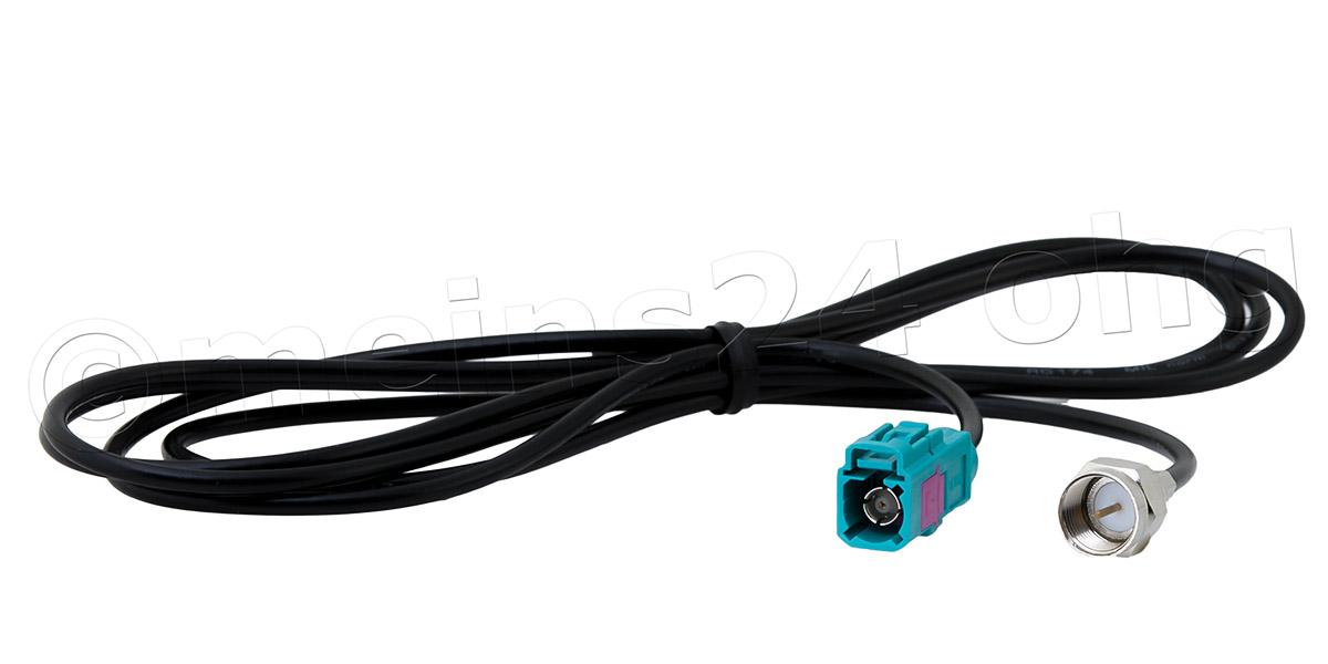 Antennenverlängerungskabel 150cm Fakra Z Buchse (f) > F-Stecker (m)